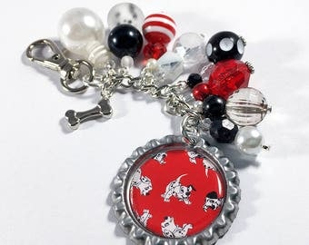 101 Dalmatians Purse Charm Keychain / Disney Dalmatian Dog Harveys Seatbelt Bag Print / Dog Bone Bottlecap Pendant Jewelry / Planner Gift