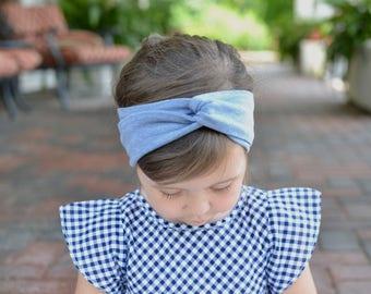 Denim Blue Turban Headband , Baby Turban Headwrap, Girl's Turban,  Adult Turban Headband, Twisted Headband