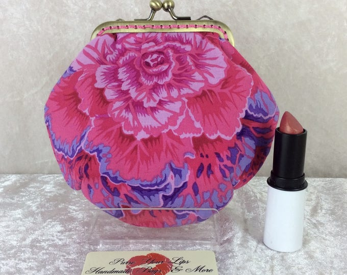 Cabbages Brassica Amy fabric frame coin purse wallet hand stitched Philip Jacobs Kaffe Fassett handmade in England