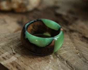personalized ring for girlfriend gift boho ring promise jewelry wooden ring resin ring tree wedding ring green jewelry eco ring custom ring
