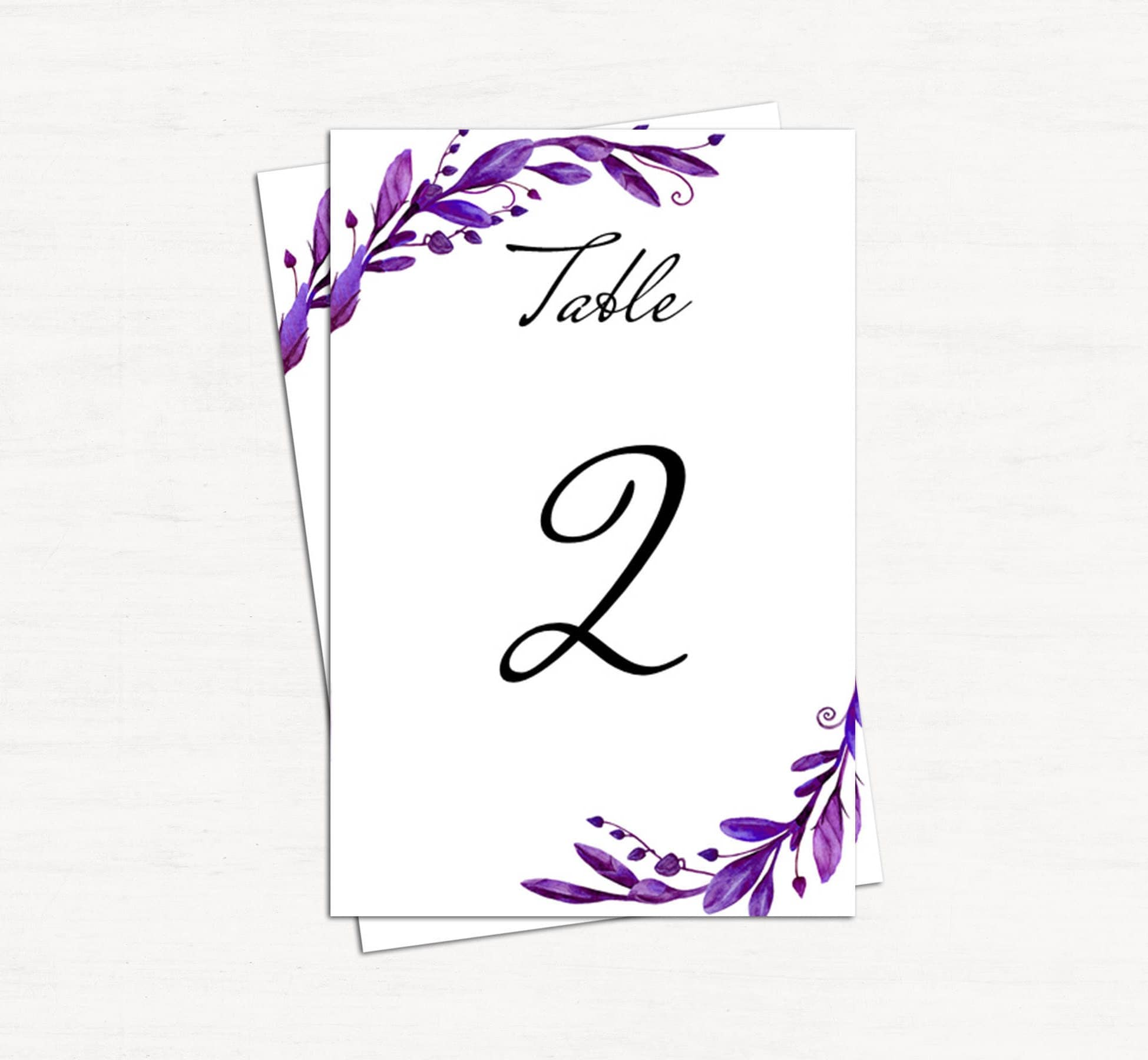 Purple Wedding Table Number Floral Template Botanical Table Cards - Wedding table numbers template