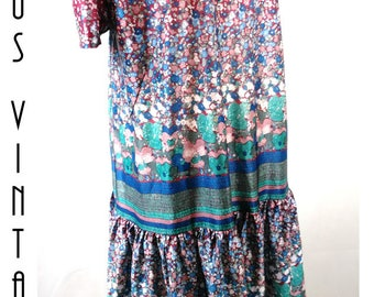 "Plus Size UK 30 Vintage 1920s-Style Floral Flapper Dress Downton Gatsby Silky Sissy EU 58 US 26 Bust 56""  143cm"