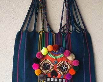 Mexican Sugar Skull bag, Embroidered Day of the Dead Rebozo bag, Mexican embroidered bag, Mexican pom pom bag, Mexican Tassel bag, Rebozo