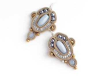 inspirational earrings, Soutache earrings, Tan blue earrings, Bridesmaid gift idea-for-women gift-for, Handmade wedding earrings-for-brides.