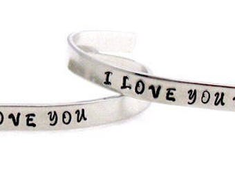 I love you Bracelet, I love you more Hand Stamped Aluminum bracelet, Set of 2, Hand Stamped Jewelry, Mother Daughter Jewelry, For her