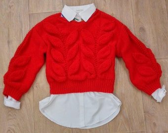 Red knit sweater. Hand knitted.