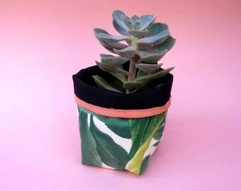 small flower pot plant printed reversible cotton tropical leaves jungle for pot diameter 11 cm