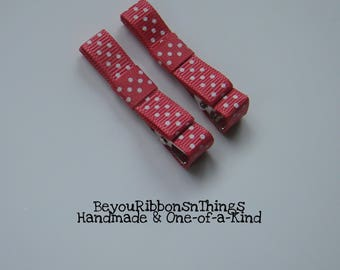 Pink Light Azalea Hair Clips for Girls Toddler Barrette Baby Kids Hair Accessories Grosgrain Ribbon No Slip Grip