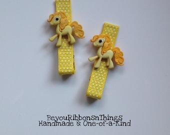 Yellow Ponies Hair Clips for Girls Toddler Barrette Kids Hair Accessories Grosgrain Ribbon No Slip Grip