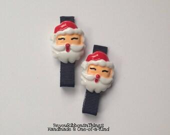 Happy Santa   Hair Clips for Girls   Toddler Barrette   Kids Hair Accessories   Flatback   Black Grosgrain Ribbon   No Slip Grip   Holidays