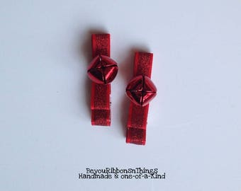 Red Bells| Red Glitter | Hair Clips for Girls | Toddler Barrette | Kids Hair Accessories | Grosgrain Ribbon | No Slip Grip | Christmas