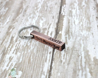 Hand stamped antiqued copper dog ID tag / 4 sided bar / dog tags for dogs / small dog tag
