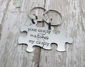 "Deadpool inspired ""your crazy matches my crazy"" Couples keychain set / puzzle piece set / puzzle pieces"