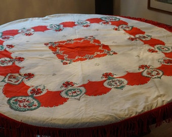Beautiful Vintage Christmas Tablecloth/ Mid Century Modern Tablecloth/ Cotton Tablecloth/ Fringe Edged