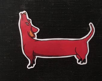 wiener dog in boots - vinyl sticker