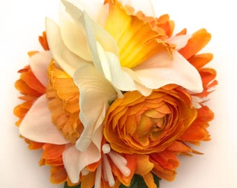 Handmade Delicate Daffodil & Orange Chrysanthemum Hair Flower