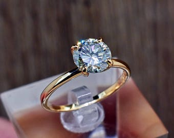 Engagement Ring, 14k Gold Engagement Ring, Moissanite Ring, Solitaire Ring, Unique Engagement Ring, Gemstone Solitaire, Classic Ring, Bihls