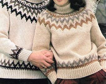 Vintage knitting pattern - Fair Isle Sweaters - downloadable pdf - Ladie, men, women 80's retro pattern - 1980s