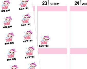 Bath Time Sloth Planner Stickers, Bath Stickers, Sloth Planner Stickers, Sloth Stickers, Bubble Bath Stickers, Me Time Stickers
