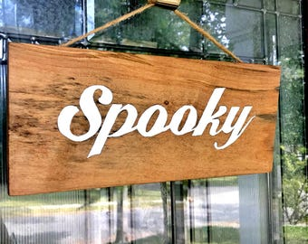 Halloween Spooky Sign, Halloween Door Decor, Halloween Door Sign, Halloween Sign, Happy Halloween, Wood Sign, Fall Decor, autumn sign, BOO