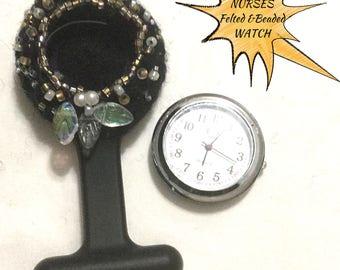 Beaded Nurses Watch, Black Beaded Watch Brooch,Felted Nurses Watch, Boxed Beaded Watch Gift, Hand Crafted Watch Cover, Unique Gift Watch