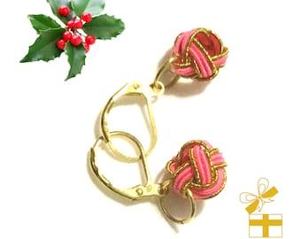 Flamingo Pink Beaded Earrings, Hand Crafted Miniature Earrings,  Dainty Earrings, Unique Drop Earrings, Tiny Pretty Gift, Gold Earrings