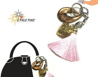Pale Pink Tassel Key Ring, Copper Bag Charm, Gold Heart Dangle, Variety Key Ring, On Trend Gift, Stylish Gift, Teacher Xmas Gift,