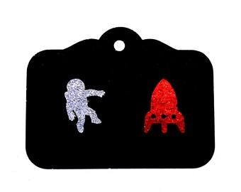mismatched spaceman spaceship earrings studs