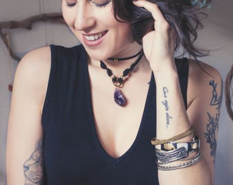 Rough Amethyst Choker Necklace, Purple Gemstone Choker, Raw Amethyst Pendant, Rough Crystal Choker, Boho Chic Choker, Amethyst Necklace