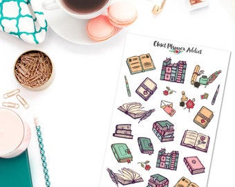 Vintage Books Planner Stickers | Books Stickers | Reading Stickers | Vintage Stationery Stickers | Letters Stickers (S-316)