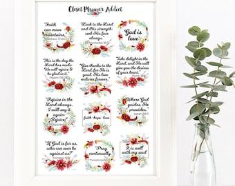 Christian Bible Verses Scriptures Planner Stickers | Watercolour Flowers | Flowers Stickers | Scriptures | Bible Verses Stickers (MS-023)