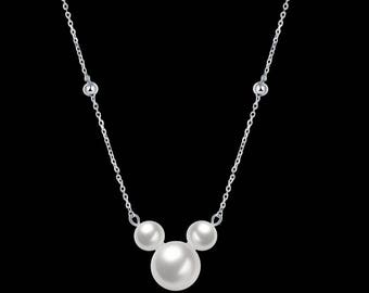 RREADY TO SHIP Pearl Mickey Mouse Minnie Mouse Mickey Head Pendant Necklace Gift Chain Jewel Free Gift Box
