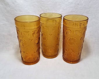 AMBER AMERICAN CONCORD Tumblers by Brockway Glass Drink Water Ice Tea Scrolls Starburst Collect Vintage Retro