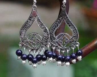 Blue Sandstone Chandelier Earrings ~ Sparkle Stones ~ Boho Style ~ Bohemian Jewellery ~ Midnight Sky ~ Starlight ~ Tibetan Silver