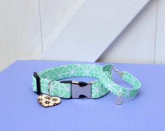 Hand Block-printed Mint Green Fabric Dog Collar and Bracelet Set