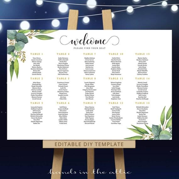 Eucalyptus seating chart botanical wedding printable pdf template il570xn maxwellsz