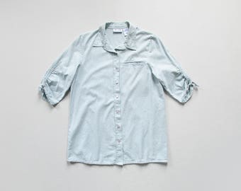 vintage chambray blouse / 90s cotton denim top / collared button down shirt with ruched sleeves / womens M