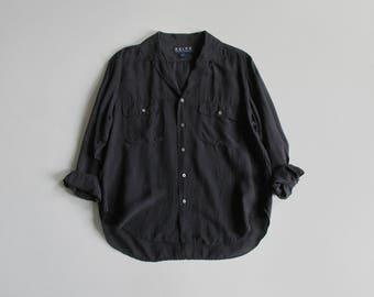 vintage black silk blouse / long sleeve button down shirt / collared silk top / 90s ralph lauren / womens L - XL