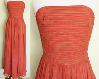 1940s Dress- Coral Silk- Floor Length- Pleated Bodice Detail