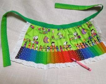 Crayon Apron, Girls Crayon Apron, Peanuts Snoopy Easter Crayon Apron, Girls Birthday gift, Girls Easter Basket Gift, Crayon Holder