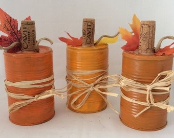 Tin Can Pumpkins, Fall Decor, Tabletop Tin Can Pumpkins with Wine Cork and Raffia, Set of 3