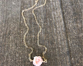 30% off discount 14k gold filled pink Mother of Pearl carved rose flower necklace / minimalist / June birthstone / bridesmaid / dainty