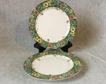 Vintage International Tableworks Velvet Faces Salad Plates, Set of 2, Pansy Dinnerware