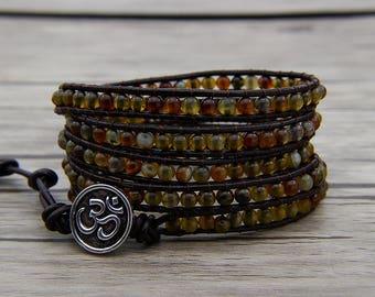 Leather Wraps Bracelet Agate beads bracelet Boho Dark brown Dragon grain beads bracelet Boho wrap barcelet Agate Jewelry SL-0548