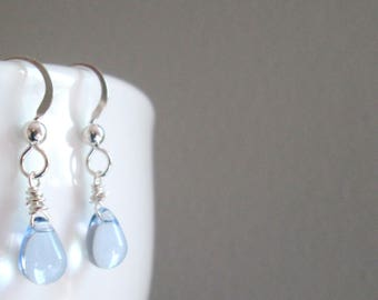 Light Blue Earrings, Blue Czech Glass Earrings, Small Blue Earrings, Sterling Silver Earrings, Baby Blue Earrings, Blue Glass Earrings