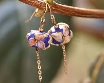 Glass Earrings, artisan lampwork bead, Earrings Lampwork, flower earrings, pink flowers, blue earrings, long earrings, pink Earrings, chain