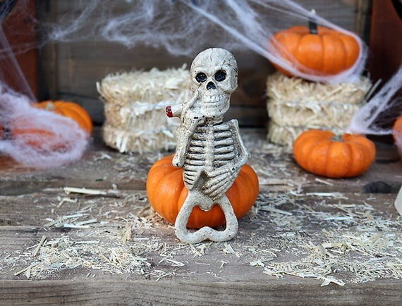 Smoking Skeleton Bottle opener-Cast Iron Bottle Opener-Vintage Bottle Opener-Skeleton Bottle Opener-Halloween Bottle Opener-Bottle Opener