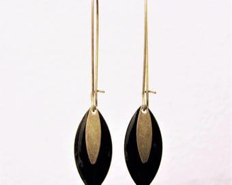 Sequin black enamel earrings