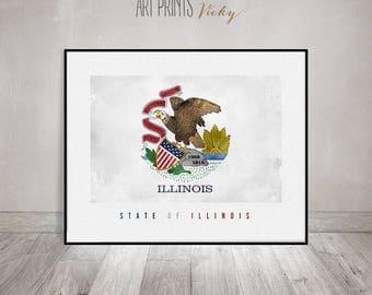 Illinois State flag, art print, Office decor, Wall art, flag painting poster, United States flag, travel gift, home decor ArtPrintsVicky