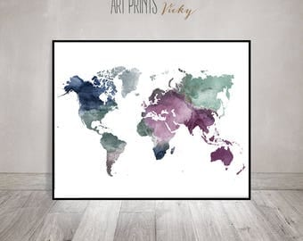 Travel Map Large World Map Watercolor World Map Wall Art - Large world map painting